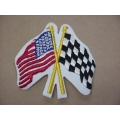 American Flag and Checkered Flag Sew On Patch