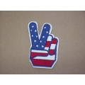 Peace Fingers, Red, White and Blue Sew or Iron On Patch